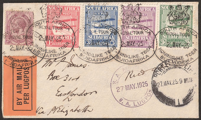 South Africa 1925 Airmails Set Cover, Royal Tour Oval Cancels