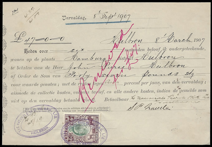 Orange River Colony Revenue 1907 KEVII 6d on Fixed Deposit