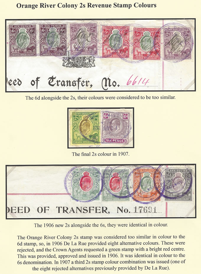 Orange River Colony Revenue 1906-07 KEVII 2/- Colour Study