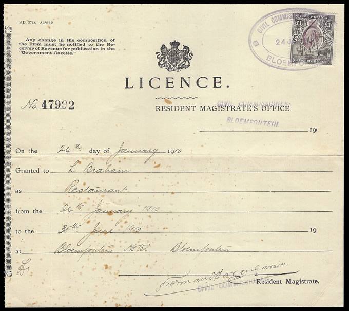 Orange River Colony Revenue 1910 KEVII £1 on Restaurant Licence
