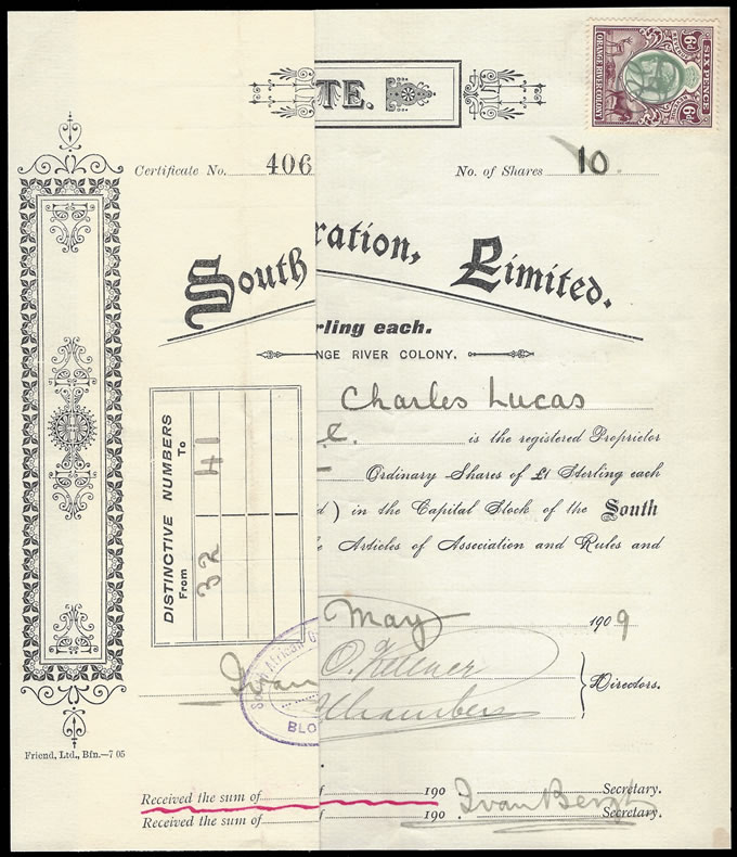 Orange River Colony Revenue 1909 KEVII 6d on Share Certificate