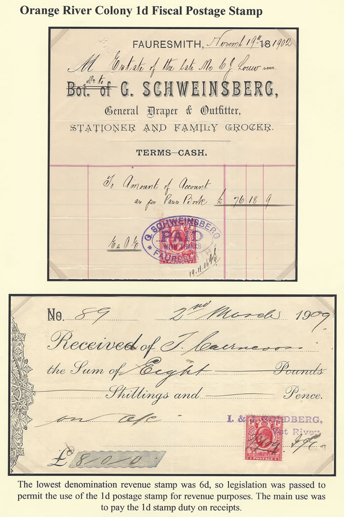 Orange River Colony Revenue 1902-09 KEVII 1d Postage Fiscal Use