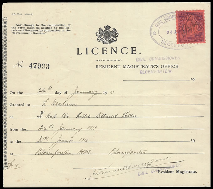 Orange River Colony Revenue 1910 KEVII £10 on Billiard Licence