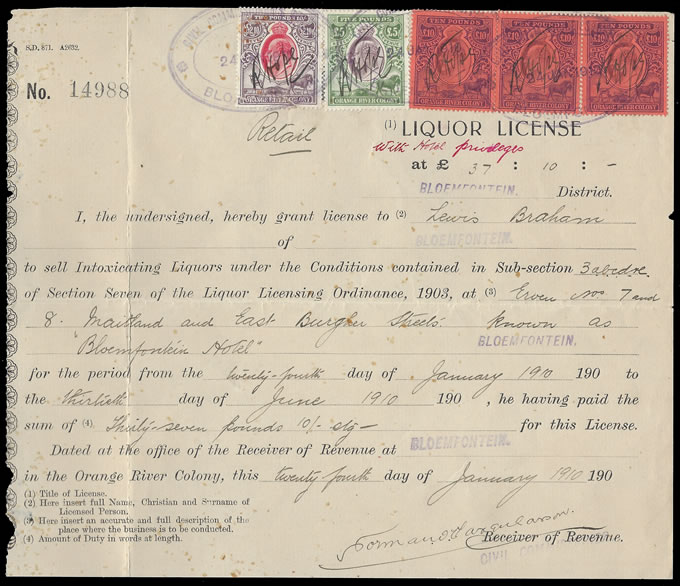Orange River Colony Revenue 1910 KEVII £5 & £10, Liquor Licence