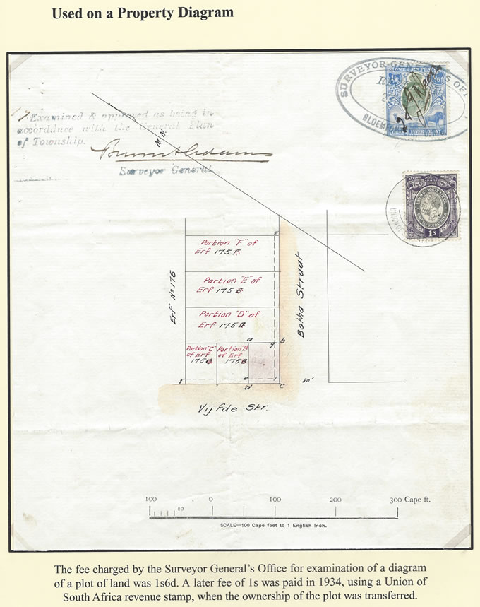 Orange River Colony Revenue 1904 KEVII 1/6 Property Diagram Fee