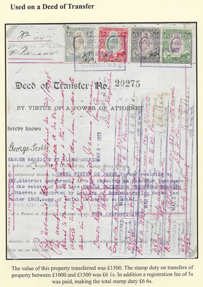 Orange River Colony Revenue 1907 KEVII's on Deed of Transfer