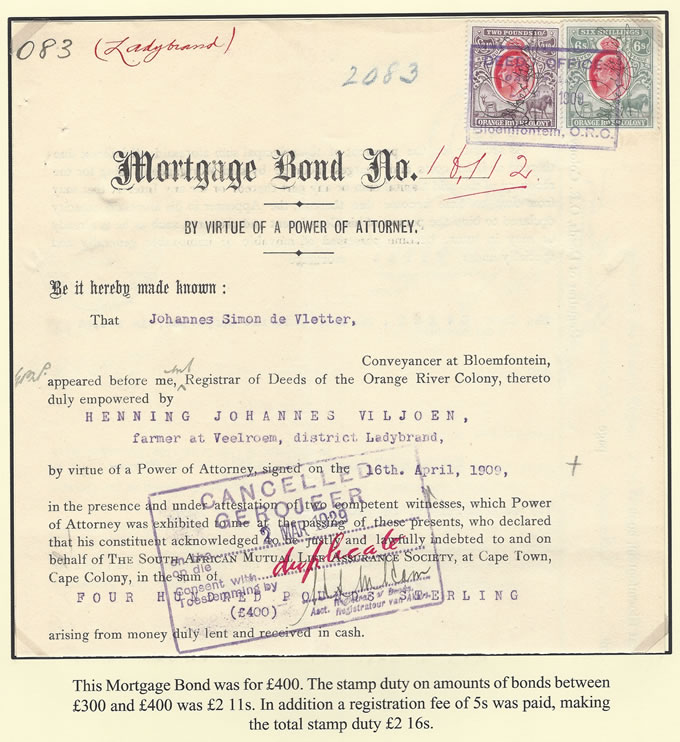 Orange River Colony Revenue 1909 KEVII's on Mortgage Bond