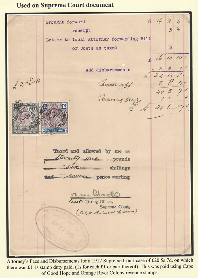 Orange River Colony Revenue 1912 KEVII's on Bill of Taxing