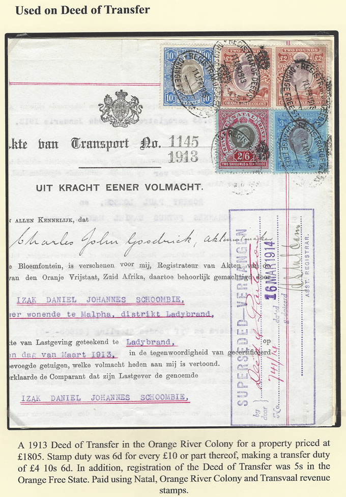Orange River Colony Revenue 1913 KEVII Interprovincial Transfer