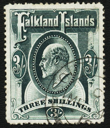 FALKLAND ISLANDS 1904 KEVII 3/- DEEP GREEN USED