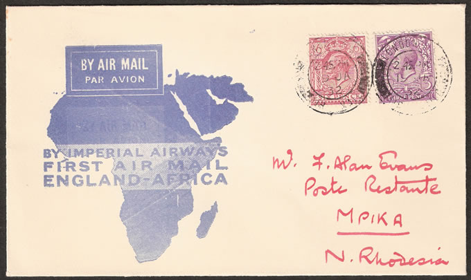 Northern Rhodesia 1932 First Incoming Flight London to Mpika