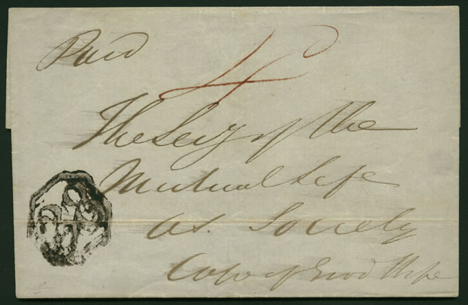 CAPE OF GOOD HOPE 1850 UITENHAGE OCTAGONAL 38 WRAPPER