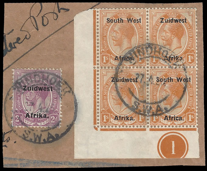 SOUTH WEST AFRICA 1925 KGV 1/- SETTING IIIa USED PLATE BLOCK