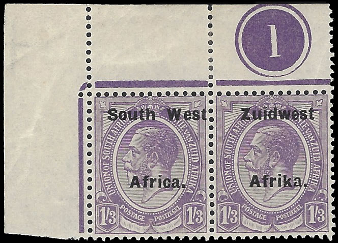 SOUTH WEST AFRICA 1924 KGV 1/3 SETTING VIa PLATE NO 1 PAIR