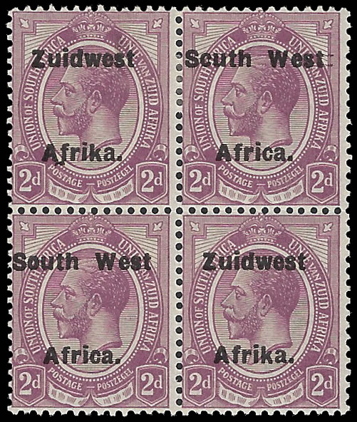 South West Africa 1924 KGV 2d Setting via Varieties Block