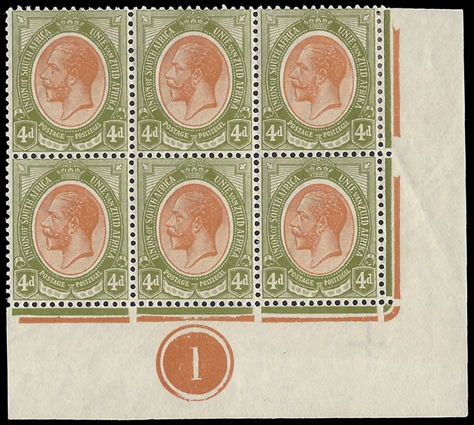 South Africa 1913 KGV 4d Plate Block Bottom Right