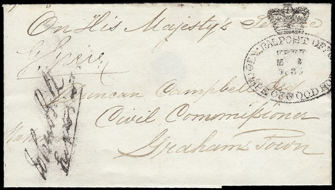 CAPE OF GOOD HOPE 1835 THIRD OFFICIAL FREE HANDSTAMP, RARE