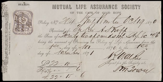 CAPE OF GOOD HOPE 1870 INSURANCE POLICY PREMIUM RECEIPT, 12D