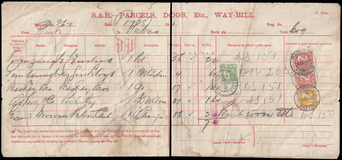 SOUTH AFRICA RAILWAY STAMPS 1910 SEVEN SHILLINGS WAYBILL