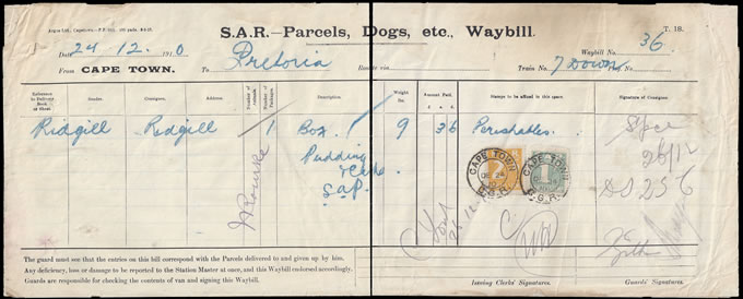 SOUTH AFRICA RAILWAY STAMPS 1910 1/- & 2/6 WAYBILL