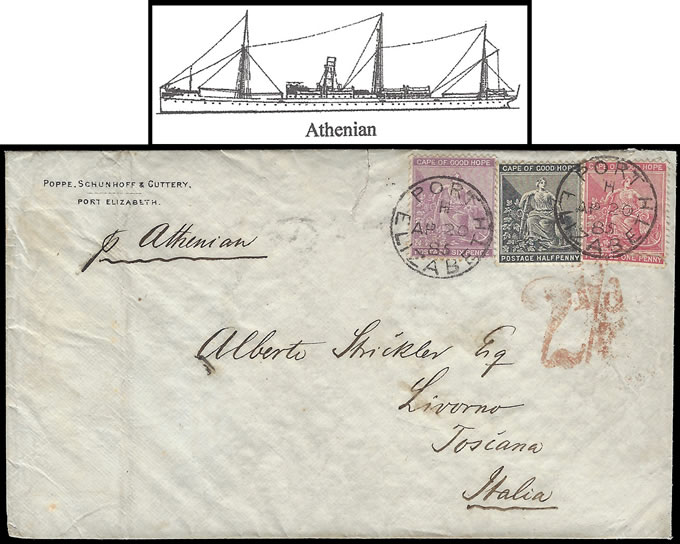CAPE OF GOOD HOPE 1877 UNION LINE LETTER PER ATHENIAN TO ITALY