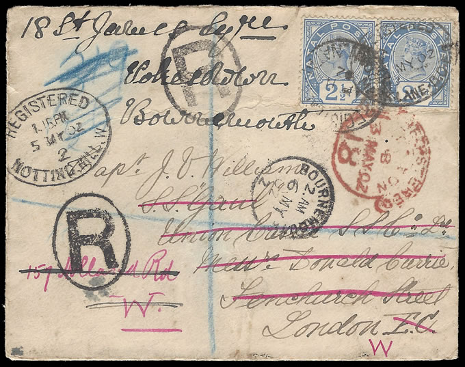 NATAL 1902 MUCH-TRAVELLED UNION-CASTLE REGISTERED LETTER