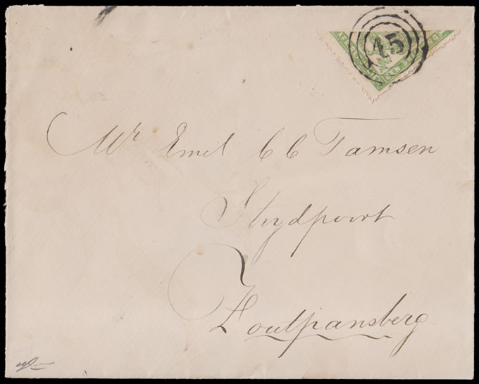 Transvaal 1883 Envelope with Bisected Celliers 1/-, Rare
