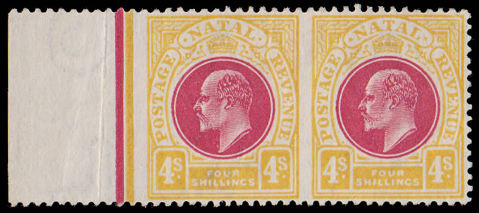 Natal 1902 KEVII 4/- Imperforate Vertically & Marginally Rarity!