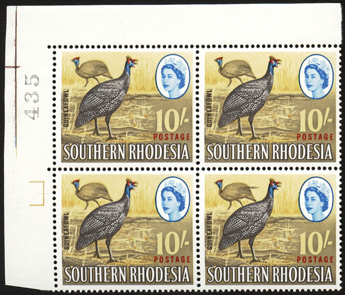 SOUTHERN RHODESIA 1964 10/TAIL FEATHER FLAW VF/UM SHEET NO BLOCK