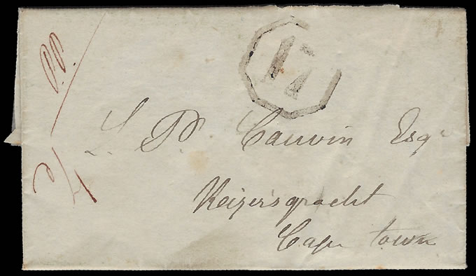 CAPE OF GOOD HOPE 1850 PIQUETBERG OCTAGONAL 17, RARE