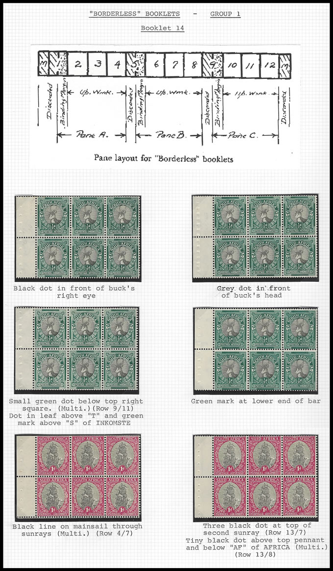 South Africa Booklet 1938 Drifoot 2/6 Borderless Group Panes