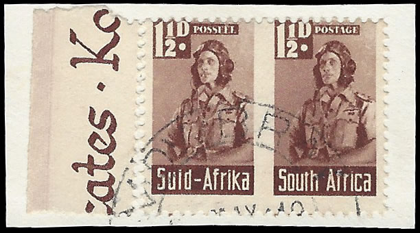 SOUTH AFRICA 1942 BANTAM 1½D ROULETTE OMITTED VF/U PAIR