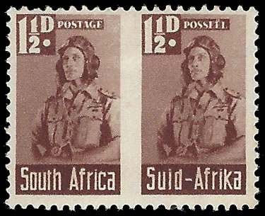 SOUTH AFRICA 1942 BANTAM 1½D ROULETTE OMITTED VF/M PAIR