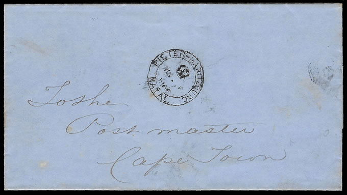 Natal 1866 Official Letter Mailed Without Charges Raised