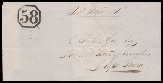 CAPE OF GOOD HOPE 1850 RARE OCTAGONAL 58 DOUBLE STRIKE