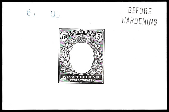Somaliland 1904 KEVII 5R Die Proof 6.7.03 BH, Rare