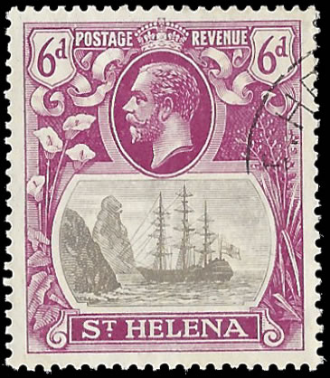 Saint Helena 1922 Badge Issue 6d Cleft Rock VF/U
