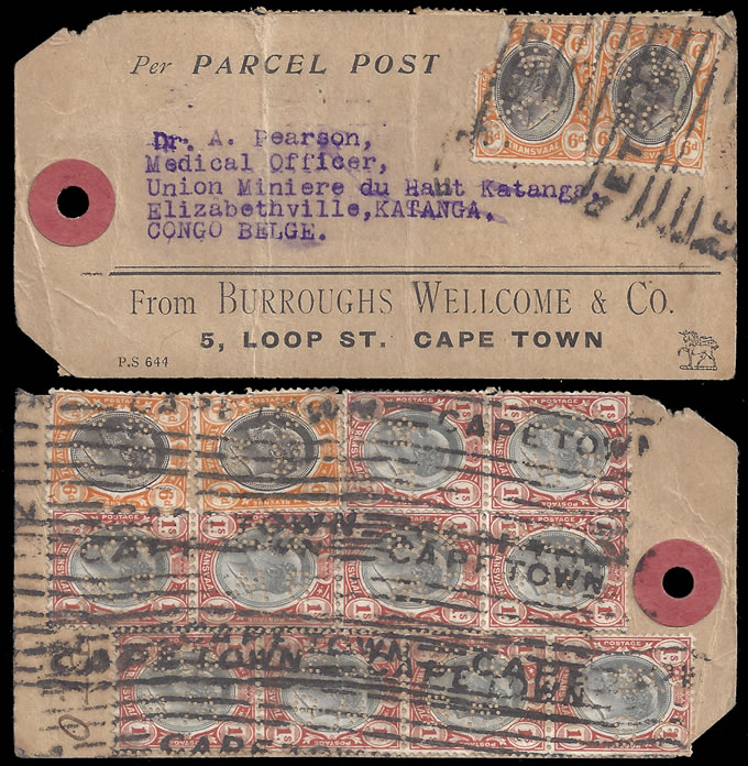 South Africa 1912 Interprovincial Perfins on Proving Label