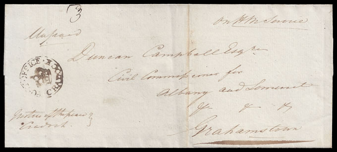 CAPE OF GOOD HOPE 1828 CRADOCK CROWN-IN-CIRCLE LETTER