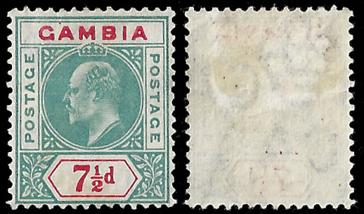 GAMBIA 1905 KEVII 7½D DENTED FRAME VARIETY