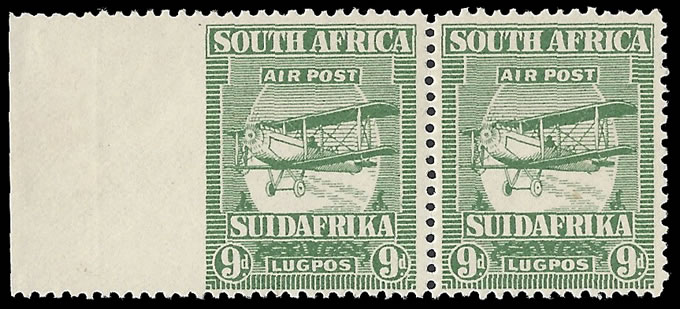 SOUTH AFRICA 1925 9D AIRMAIL STAMP IMPERF AT LEFT VF/UM, RARE