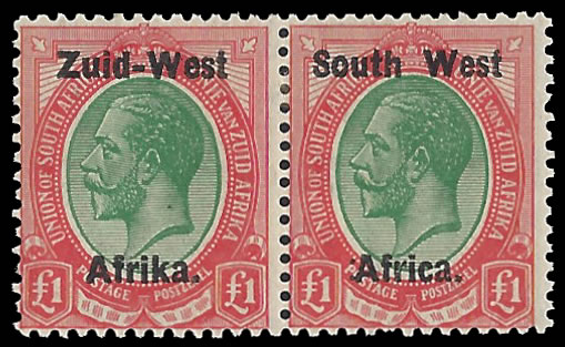 "SOUTH WEST AFRICA 1923 KGV £1 SETTING I SPACER BEFORE ""A"""