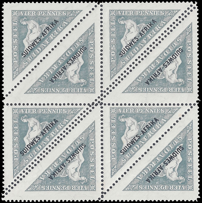 SOUTH WEST AFRICA 1927 4D TRIANGULAR DOUBLE PERFORATIONS