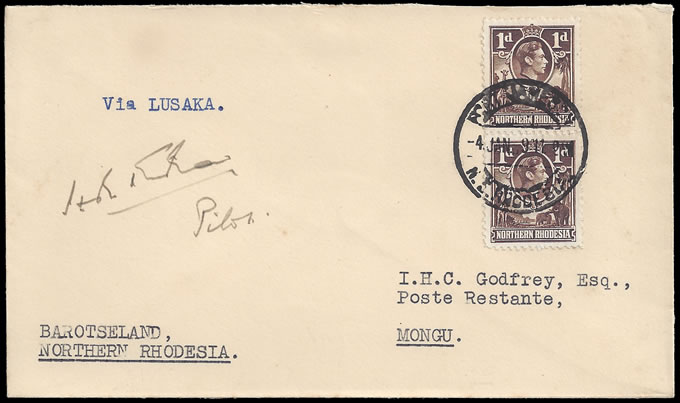 "Northern Rhodesia 1939 Barotseland Airmails Signed ""Through"" Cov"