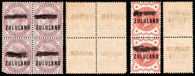 Zululand 1888 ½d & 1d Somerset House Trials