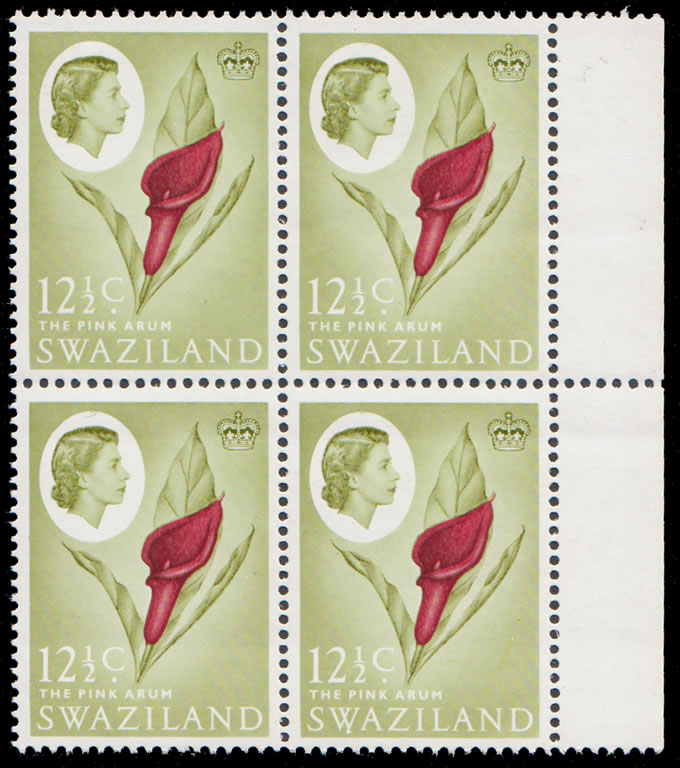SWAZILAND 1962 12½C ARUM INVERTED WATERMARK BLOCK, SCARCE