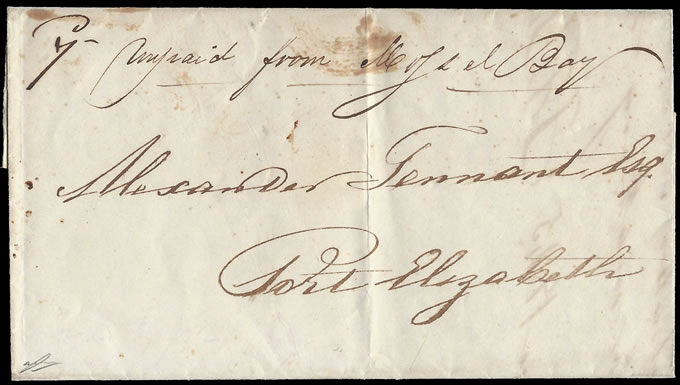CAPE OF GOOD HOPE 1845 UNPAID LETTER FROM MOSSEL BAY