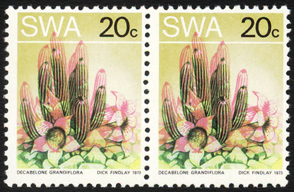 SOUTH WEST AFRICA 1973 20C SUCCULENTS SHIFT OF PINK PAIR UM