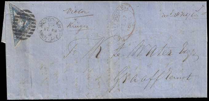 CAPE OF GOOD HOPE 1865 4D STEEL BLUE TRIANGLE ON LETTER