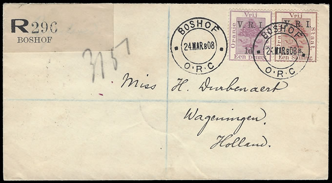 "ORANGE FREE STATE 1900 VRI SG110 1/- ""1"" OMITTED ON COVER"